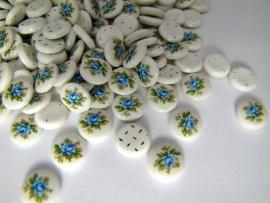 Vintage Cabochon Flower Blauw 10mm Limited