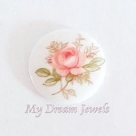 Vintage Cabochon Flower Roze 10mm  Limited