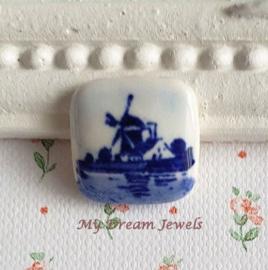 Vintage Cabochon Delfts Blauw Molen  ( 15mm )