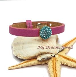 Cuoio Armband Fuchsia met Swarovski Crystal Light Turquoise