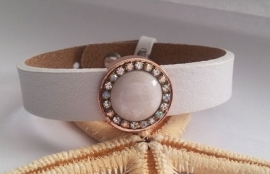 Cuoio Armband Wit met Slider