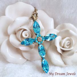 Ketting met Swarovski Kruis Flower Turquoise
