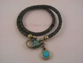 Leren Armband Bruin Turquoise