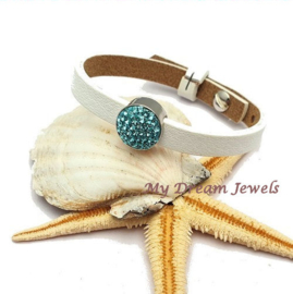 Cuoio Armband Wit met Swarovski Crystal Light Turquoise