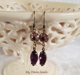 Oorhangers Vintage Swarovski Purple Amy