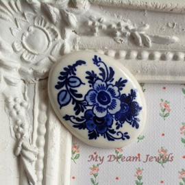 Vintage Cabochon Delfts Blauw Bloemen ( 30x40mm )  Limited