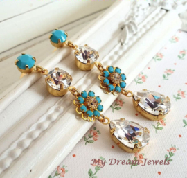 Oorstekers Vintage Swarovski Flower Turquoise/crystal