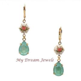 Romantische Roos oorbellen met Swarovski druppel Mint Green