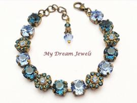 Armband Vintage Swarovski Flower Blue Montana Sapphire