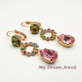 Vintage stijl oorhangers Light Rainbow met Swarovski Crystal