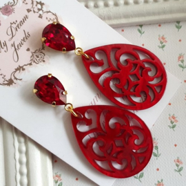Swarovski Oorstekers Resin Barok Red Velvet
