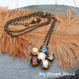 Ketting Bloem Autumn Shimmer met Swarovski Crystal
