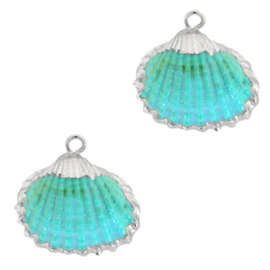 Schelp Hanger Turquoise Blauw met Zilver