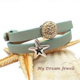 Cuoio Armband Bleached Aqua Blue met Swarovski Crystal Golden Shadow