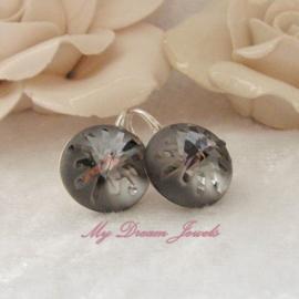 Sterling Silver 925 oorbellen met een Swarovski Sea Urchin Crystal Silver Night