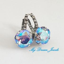 Luxe Swarovski Oorbellen Square Light Sapphire Shimmer