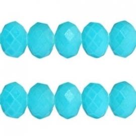 Facet Kraal Vintage Turquoise Blauw 8x6mm
