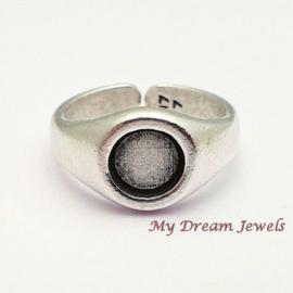 DQ Ring Antiek Zilverkleurig voor Swarovski  plaksteen 7,1mm/ SS34