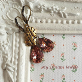 Oorhangers herfstblad met Swarovski Druppel Blush Rose