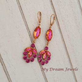 Vintage Stijl Oorhangers Swarovski Pink Orange