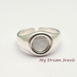 DQ Ring Zilverkleurig voor Swarovski  plaksteen 7,1mm/ SS34