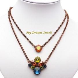 Ketting Square Swarovski Crystal Copper