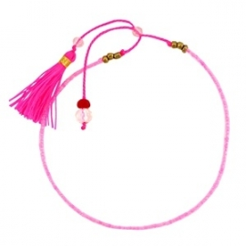 Armband met minikraal en kwastjes Neon Pink