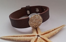 Cuoio Armband met Swarovski Crystal Golden Shadow