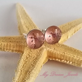 Sterling Silver 925 oorbellen met Swarovski Sea Urchin Blush Rose 10mm