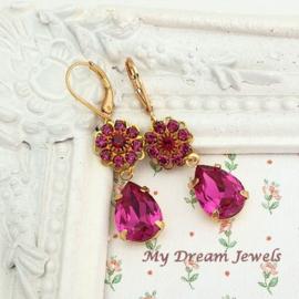 Oorhangers Vintage Swarovski Flower Fuchsia/Ruby