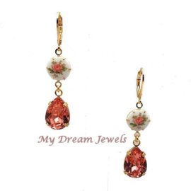 Romantische Roos oorbellen met Swarovski druppel Rose Peach