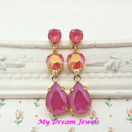 Oorstekers Summer Love Swarovski Lotus Pink Coral