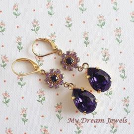 Oorhangers Vintage Swarovski  Flower Violet /Dark Purple