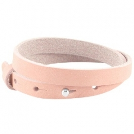 LC Armband Dubbel Nubuck Leer 10mm Light Coral Pink