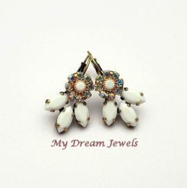 Oorbellen Lady Vintage Swarovski Flower Crystal AB/White