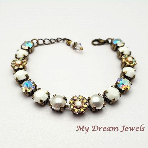 Armband Vintage Swarovski Flower Crystal AB/White