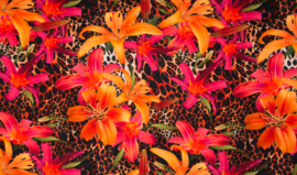 viscose tricot  bladeren rood\oranje tinten