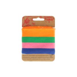 Oranje- groen-roze-blauw gestreept boord opry