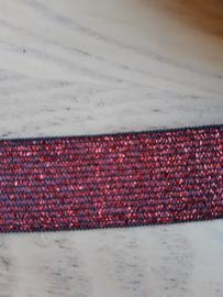 Glitter elastiek 25 mm rood