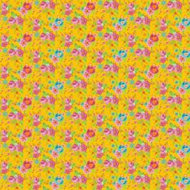 100 % katoen geel met bloemen