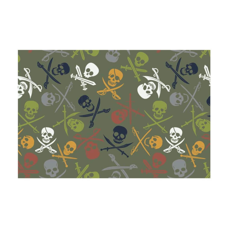 French terry brushed pirate skulls
