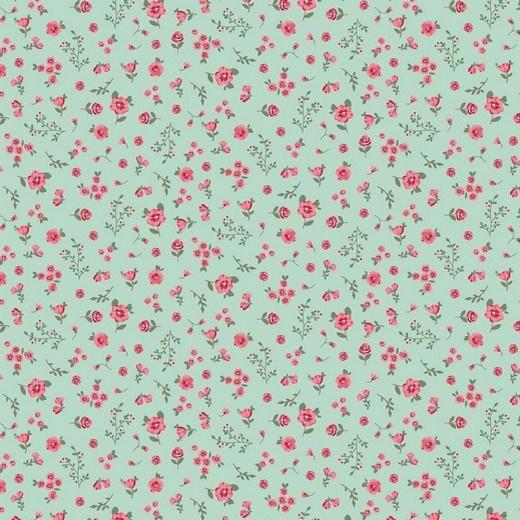 100 % katoen klein bloemetje groene ondergrond