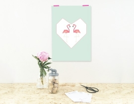 Poster Flamingo Love