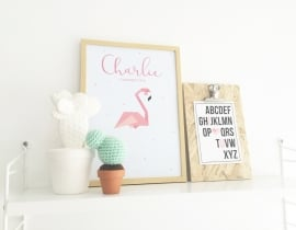 Birth poster Flamingo + frame