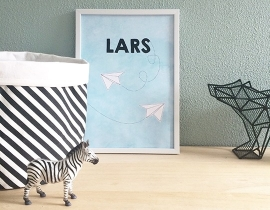 Birth poster Airplane + frame