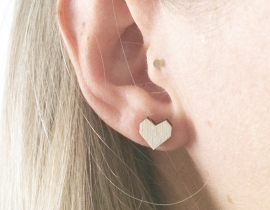 Earrings wooden hearts