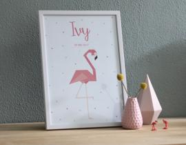 Birth poster Flamingo + frame