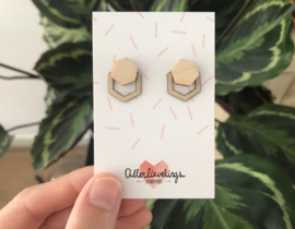Double ear studs hexagon