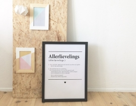 Dictionary poster in frame