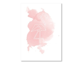 Poster Flamingo Aquarel
